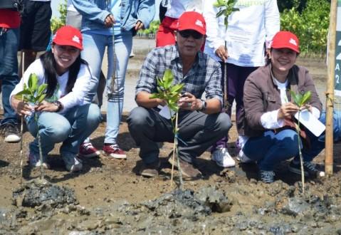 (kiri) PR Manager AHM Rina Listiani bersama (kanan) Wakil Kepala BPLHD Provinsi Jawa Barat Noch Djumhana Kartawidjaja melakukan penanaman mangrove di desa Pantai Bahagia Muara Gembong (25/4). Memperingati Hari Bumi 2015, AHM bersama  ratusan Sahabat Satu Hati melakukan aksi penanaman 1.000 pohon mangrove sebagai upaya perusahaan dalam menjaga kelestarian lingkungan.